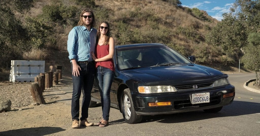 Max Lanman with his fiancé and her 1996 Honda Accord
